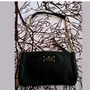 Kate Spade Blk purse Wellesley gold chain leather